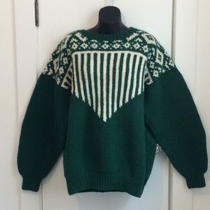Vintage hand knit crew neck sweater